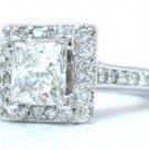 14K WHITE GOLD PRINCESS CUT DIAMOND ENGAGEMENT RING DECO 1.50CTTW EGL USA