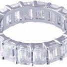 18K WHITE GOLD EMERALD CUT ETERNITY DIAMONDS BAND ANNIVERSARY 5.50CTW
