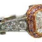 18K WHITE ROSE GOLD ASSCHER CUT AND PINK SAPPHIRE BEZEL ENGAGEMENT RING 2.14CTW