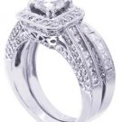 14K WHITE GOLD ROUND CUT DIAMOND ENGAGEMENT RING AND MATCHING BAND 2.05CTW
