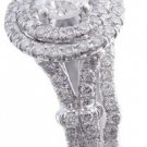 18K WHITE GOLD ROUND CUT DIAMOND ENGAGEMENT RING AND BAND 1.65CTW H-VS2 EGL USA