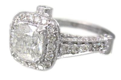 14K WHITE GOLD CUSHION CUT DIAMOND ENGAGEMENT RING ART DECO STYLE 1.90CT