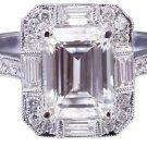 14K WHITE GOLD EMERALD CUT DIAMOND ENGAGEMENT RING DECO 2.70CTW H-VS2 EGL USA