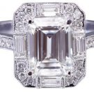 14K WHITE GOLD EMERALD CUT DIAMOND ENGAGEMENT RING DECO 2.70CTW I-VS2 EGL USA