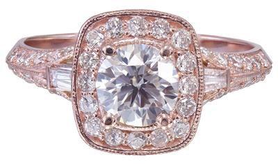14k Rose Gold Round Cut Diamond Engagement Ring Prong Set 1.95ctw H-SI1 EGL USA