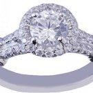 GIA H-SI1 18k White Gold Round Cut Diamond Engagement Ring Split Band 1.35ctw