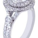GIA H-VS2 18K White Gold Round Cut Diamond Engagement Ring Dounble Halo 2.42ct