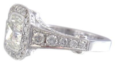 18K WHITE GOLD CUSHION CUT DIAMOND ENGAGEMENT RING BEZEL SET 1.89CT I-VS2 EGL US