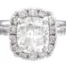 18K WHITE GOLD CUSHION CUT DIAMOND ENGAGEMENT RING ART DECO 1.65CTW