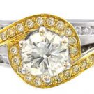 14K WHITE AND YELLOW GOLD ROUND CUT DIAMOND ENGAGEMENT RING ART DECO 1.45CTW