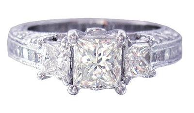 14K WHITE GOLD PRINCESS AND ROUND DIAMOND ENGAGEMENT RING ANTIQUE STYLE 2.00CTW