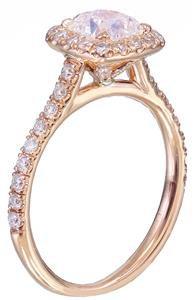 14k rose gold cushion cut diamond engagement ring deco halo 1.60ct H-VS2 EGL USA