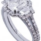 14K WHITE GOLD EMERALD CUT DIAMOND ENGAGEMENT RING ART DECO 2.50CT EGL USA G-VS2