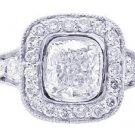 18K WHITE GOLD CUSHION CUT DIAMOND ENGAGEMENT RING BEZEL DECO ANTIQUE STYLE 1.74