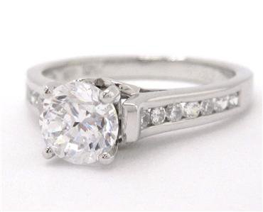 ROUND CUT DIAMOND ENGAGEMENT RING DECO 1.00CTW