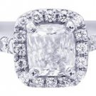 H-VS2 14k White Gold Cushion Cut Diamond Engagement Ring Art Deco Halo 1.10ctw