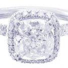 PLATINUM CUSHION CUT DIAMOND ENGAGEMENT RING ART DECO 2.15CT H-VS2 EGL USA
