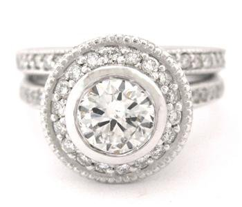 ROUND DIAMOND ENGAGEMENT RING & BAND BEZEL 1.60CT 18K