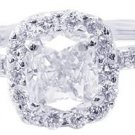 18K WHITE GOLD CUSHION CUT DIAMOND ENGAGEMENT RING 1.65CTW H-VS2 EGL USA