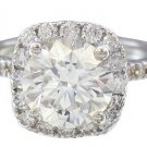 18K WHITE GOLD ROUND CUT DIAMOND ENGAGEMENT RING HALO PRONG SET 2.68CTW
