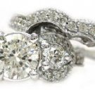 ROUND CUT DIAMOND ENGAGEMENT RING AND BAND ANTIQUE STYLE FILIGREE 2.52CTW