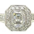 18K WHITE GOLD ASSCHER CUT DIAMOND BEZEL ENGAGEMENT RING 1.72CTW