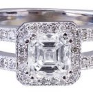 14k White Gold Asscher Cut Diamond Engagement Ring Deco 1.55ctw G-VS2 EGL USA