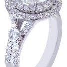 18K WHITE GOLD ROUND CUT DIAMOND ENGAGEMENT RING DOUBLE HALO 2.12CT H-VS2 EGL US