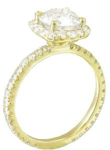 18K YELLOW GOLD ROUND CUT DIAMOND ENGAGEMENT RING PRONG SET ART DECO 2.14CTW