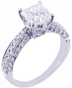 14K WHITE GOLD PRINCESS CUT DIAMOND ENGAGEMENT RING DECO 2.20TW H-VS2 EGL USA