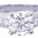 18K WHITE GOLD ROUND CUT DIAMOND ENGAGEMENT RING ANTIQUE STYLE 1.30CT I-VS2 EGL
