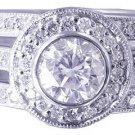 14k White Gold Round Cut Diamond Engagement Ring And Bands Bezel Set Halo 1.70ct