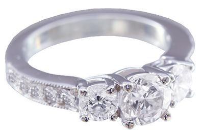 GIA H-SI1 18k White Gold Round Cut Diamond Engagement Ring Prong Set 1.10ctw