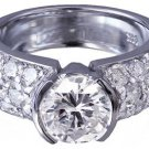 14K WHITE GOLD ROUND CUT DIAMOND ENGAGEMENT RING SEMI BEZEL 2.00CTW H-VS2 EGL US