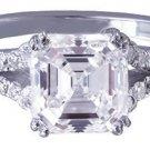 18K WHITE GOLD ASSCHER CUT DIAMOND ENGAGEMENT RING ART DECO 2.39CT H-VS2 EGL USA