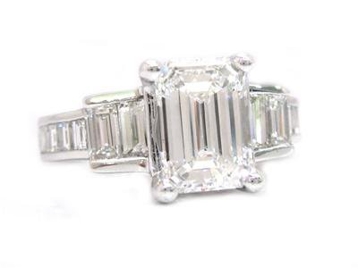 14K WHITE GOLD EMERALD CUT DIAMOND ENGAGEMENT RING 2.40CTW PRONG SET EGL USA