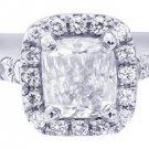 H-VS2 14k White Gold Cushion Cut Diamond Engagement Ring Art Deco Halo 1.30ctw