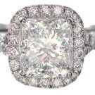 18K WHITE GOLD CUSHION CUT DIAMOND ENGAGEMENT RING 2.20CTW G-SI1 EGL USA