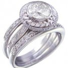 14K WHITE GOLD ROUND DIAMOND ENGAGEMENT RING AND BANDS BEZEL SET 2.10CTW