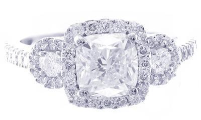 18K WHITE GOLD CUSHION CUT DIAMOND ENGAGEMENT RING ART DECO STYLE 2.28CTW