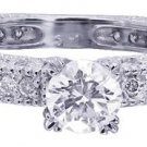 18K WHITE GOLD ROUND CUT DECO ANTIQUE STYLE DIAMOND ENGAGEMENT RING 1.25CTW