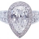 14K WHITE GOLD PEAR SHAPE DIAMOND ENGAGEMENT RING ART DECO 4.50CTW H-VS2 EGL USA