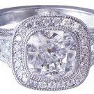 18k White Gold Cushion Cut Diamond Engagement Ring Bezel Set Antique Deco 2.10ct