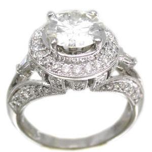 18K WHITE GOLD ROUND CUT DIAMOND ENGAGEMENT RING ANTIQUE DECO 2.25CTW