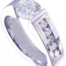14K WHITE GOLD ROUND CUT DIAMOND ENGAGEMENT RING TENSION SET 1.55CT
