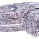 14K WHITE GOLD PRINCESS CUT DIAMOND ENGAGEMENT RING AND BAND HALO 1.75CTW