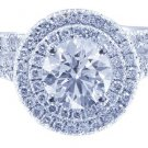 GIA H-VS2 14K White Gold Round Cut Diamond Engagement Ring And Band Halo 2.90ct