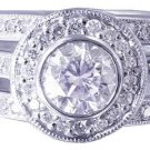 14k White Gold Round Cut Diamond Engagement Ring And Bands Bezel Set Halo 1.90ct