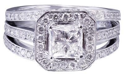 14k White Gold Princess Cut Diamond Engagement Ring Halo Deco Split Shank 1.80ct