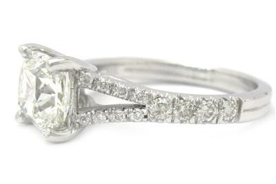 14K WHITE GOLD CUSHION CUT DIAMOND ENGAGEMENT RING SPLIT BAND 2.00CTW